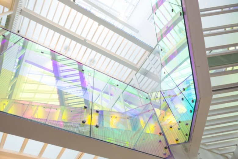 Image of the coloured stairs in Neo