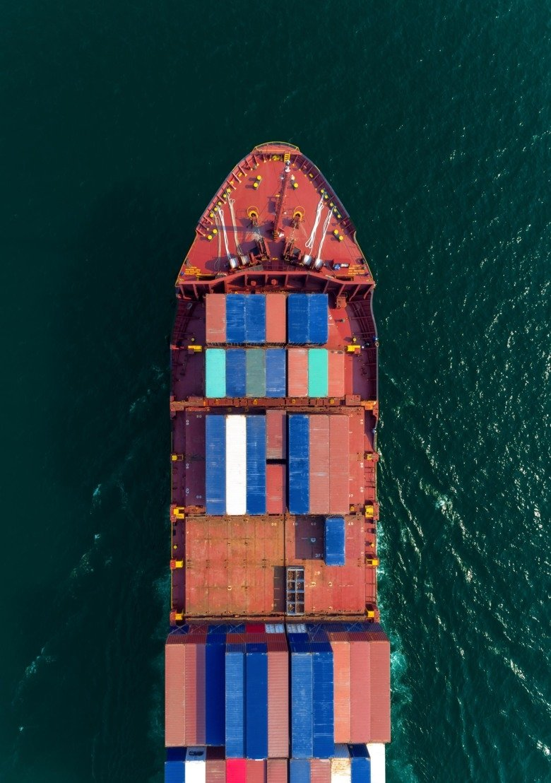 Picture of a cargo ship from above.