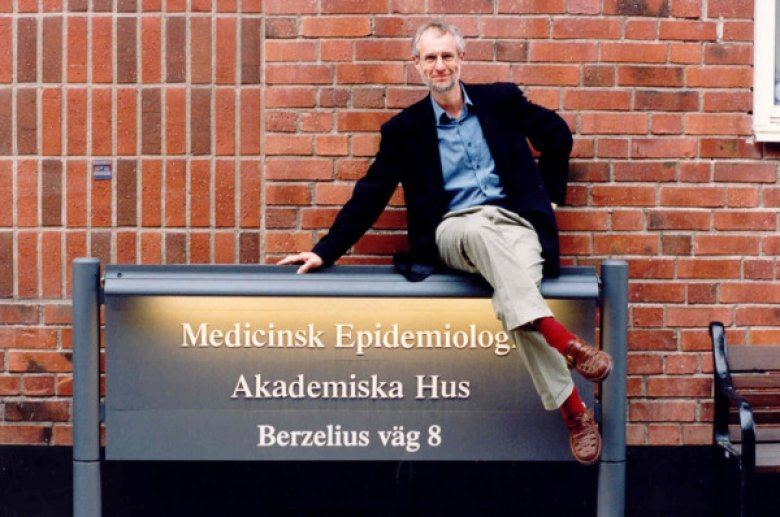 Professor Hans-Olov Adami poses outside the new facility for the department of medical epidemiology and biostatistics in 1997.