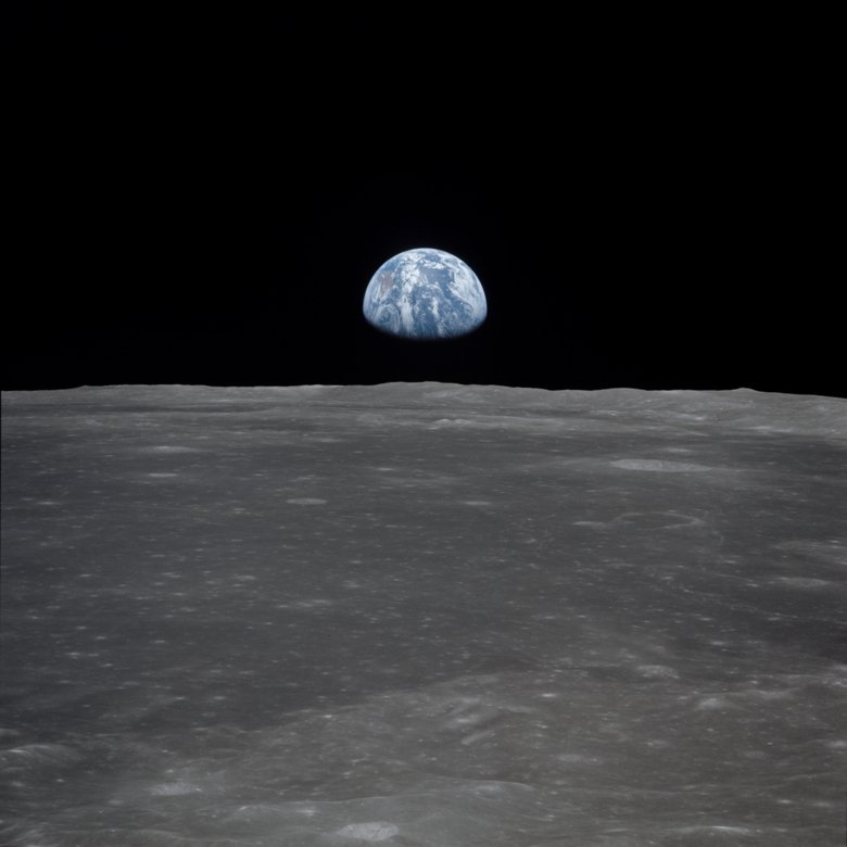 View of Moon Limb, with Earth on the Horizon.