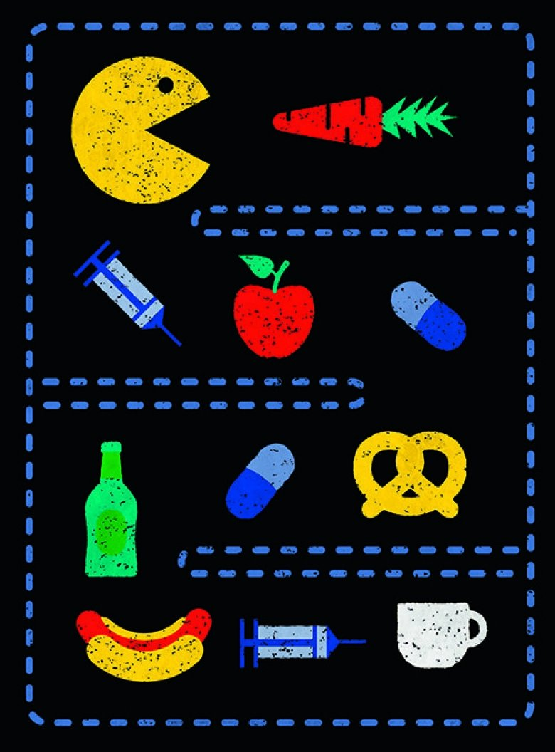 Genre illustrations of different aspects of diabetes.