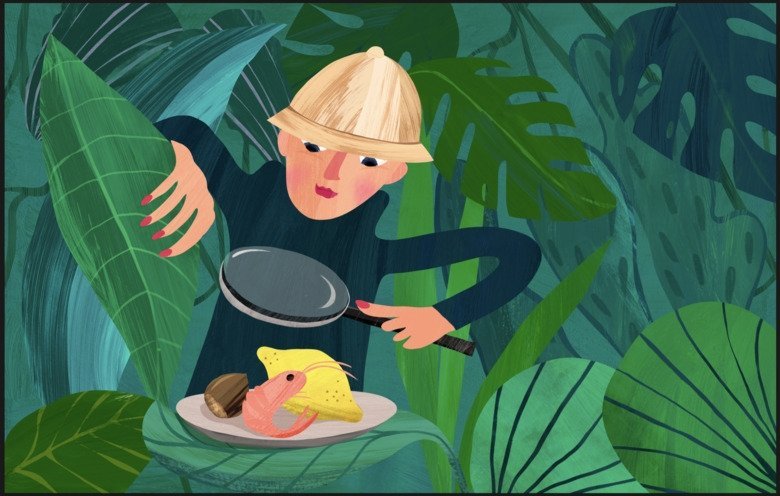Illustration of man in the jungle.