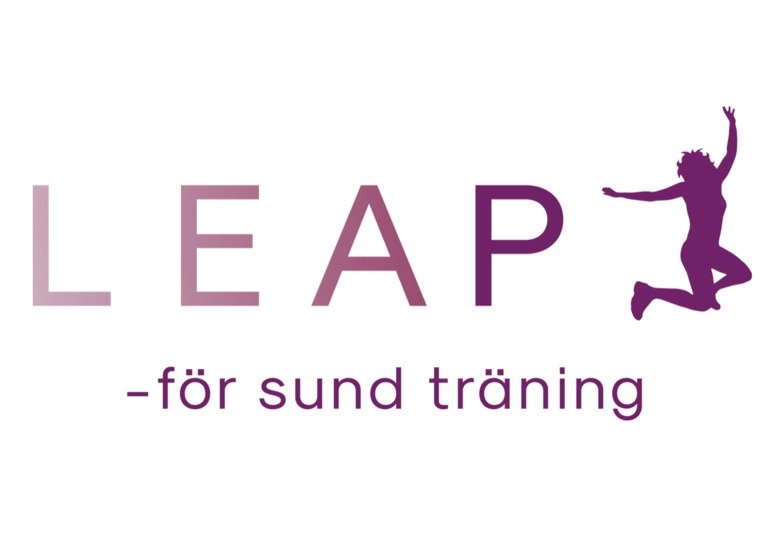 Logotype for the LEAP study with a person jumping in the air